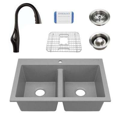 Whitney All-in-One Drop-In Granite Composite 33 in. 1-Hole Double Bowl Kitchen Sink with Pfister Faucet in Graphite Gray