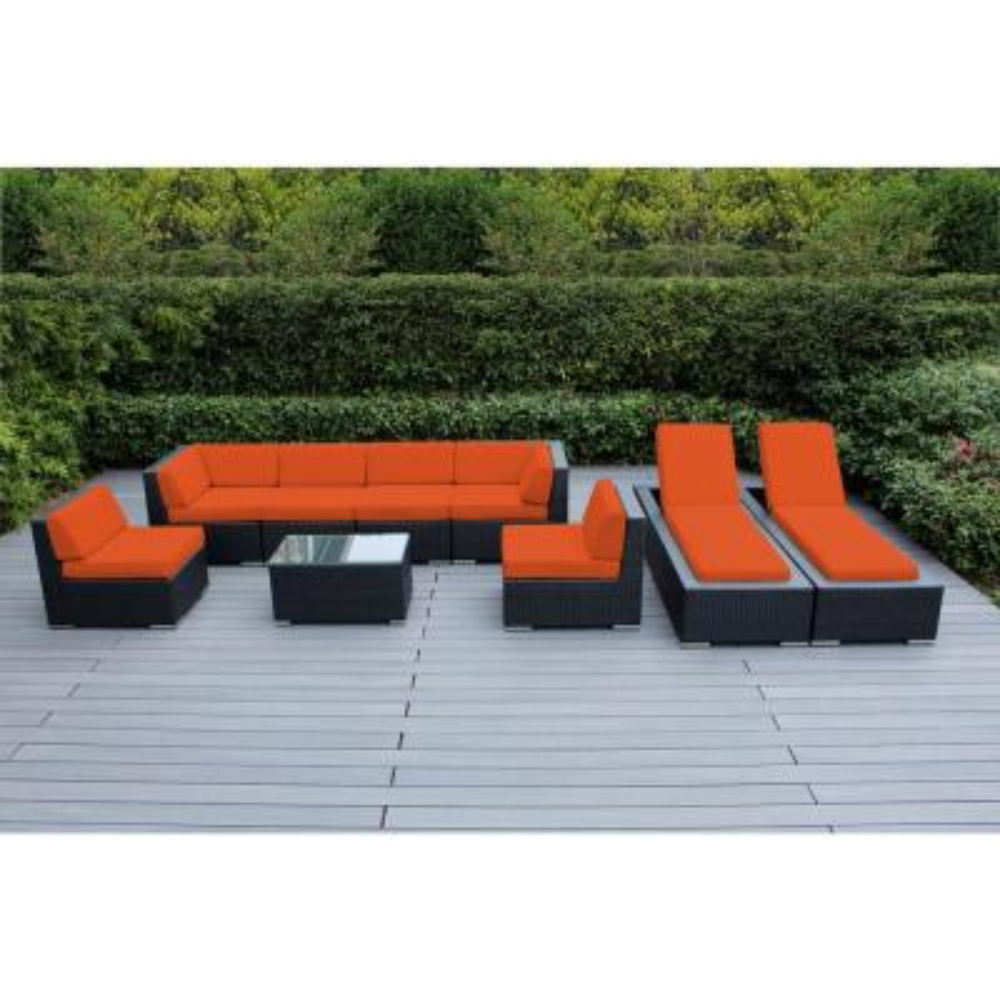 Black 9-Piece Wicker Patio Combo Conversation Set with Supercrylic Orange Cushions