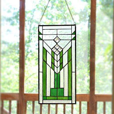 Green and Clear Mission Style Stained Glass Window Panel
