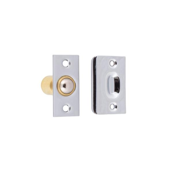 Solid Brass Wide Roller Ball Catch in Polished Chrome