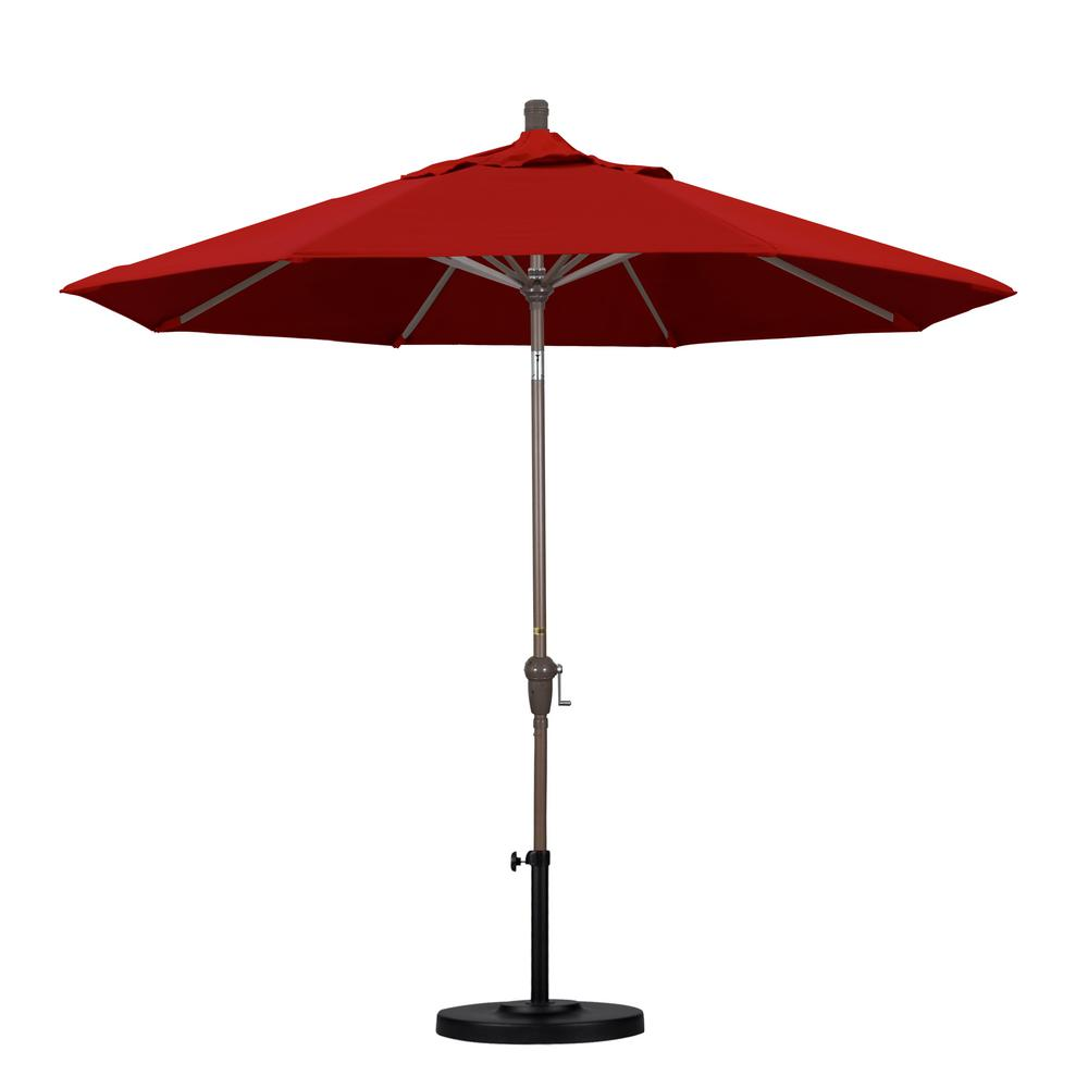 9 ft. Aluminum Auto Tilt Patio Umbrella in Red Pacifica