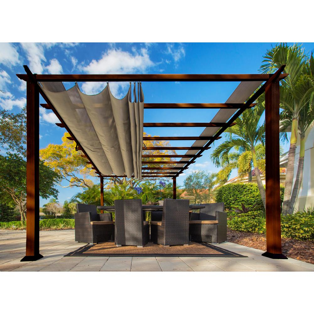 Paragon Outdoor Paragon 11 ft  x 16 ft  Pergola with the Look of Chilean  Wood and Sand Color Canopy