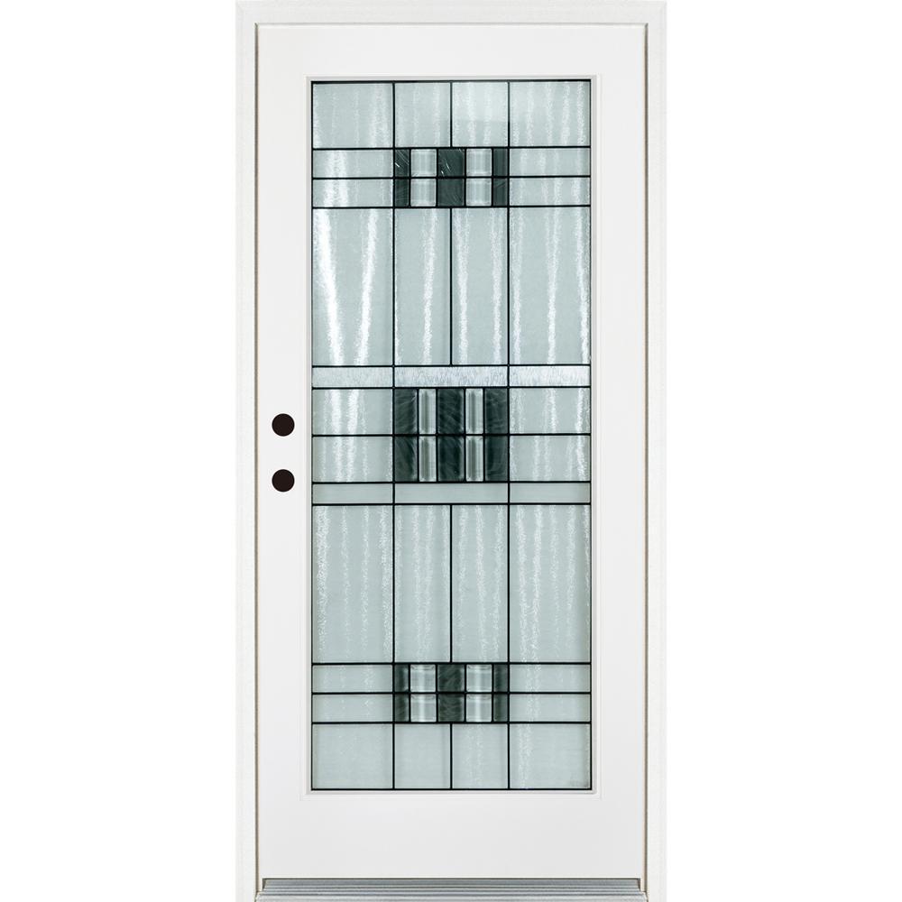 MP Doors 36 in. x 80 in. Savana Smooth White Right-Hand Inswing Full 1 Lite Decorative Fiberglass Prehung Front Door