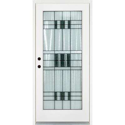 36 in. x 80 in. Savana Smooth White Right-Hand Inswing Full 1 Lite Decorative Fiberglass Prehung Front Door