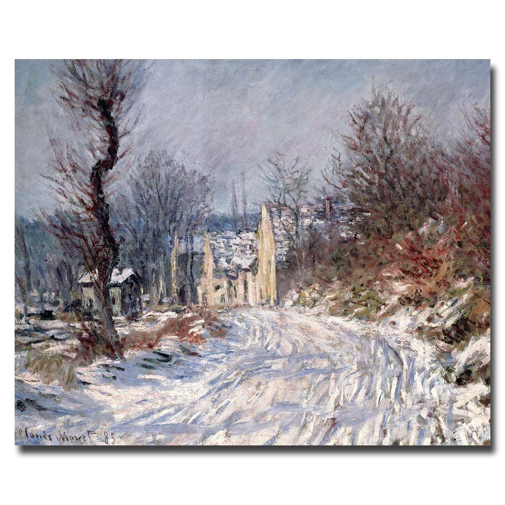 Trademark Fine Art 14 in. x 24 in. The Road of Giverny Winter, 1885 Canvas Art