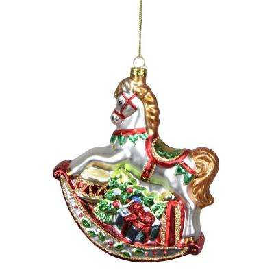 white glittered traditional rocking horse glass christmas ornament - Animal Christmas Decorations