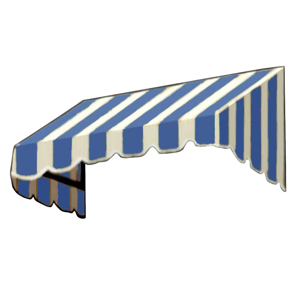 AWNTECH 50 ft. San Francisco Window/Entry Awning (44 in. H x 36 in. D) in Bright Blue/White Stripe