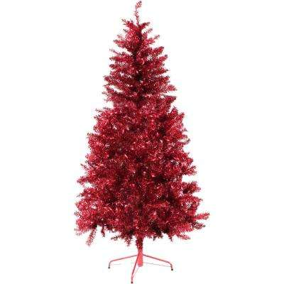 6 ft. Festive Red Tinsel Christmas Tree with Clear Lighting