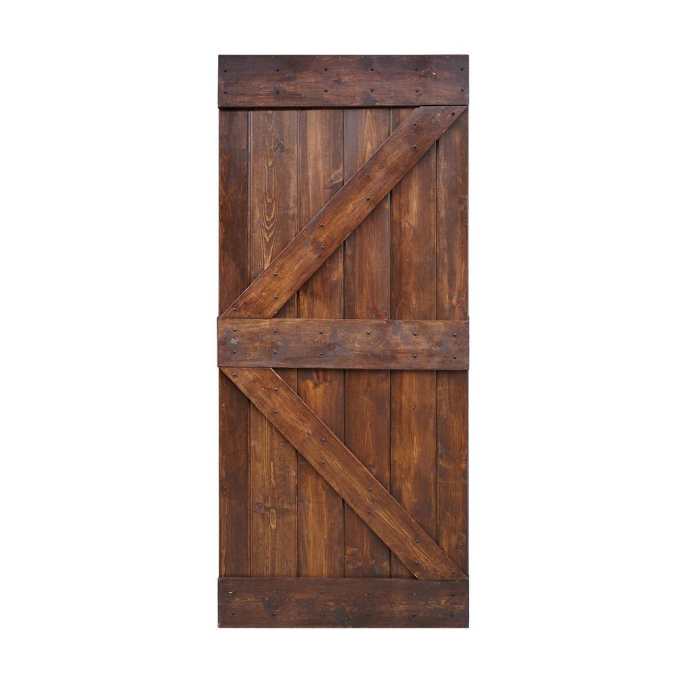 38 In X 84 In K Series Diy Dark Walnut Finished Knotty Pine Wood Interior Barn Door Slab