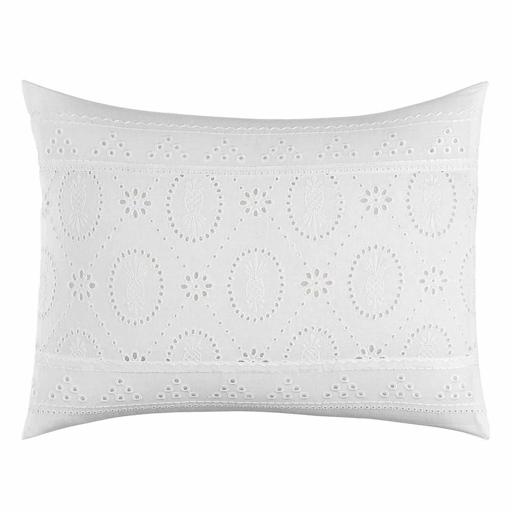 Siesta Key Pineapple Eyelet White 12 in. x 16 in. Throw Pillow Create an island oasis no matter where you call home with this all cotton, Tommy Bahama Siesta Key Pineapple Eyelet throw pillow. This pillow features a white pineapple eyelet accent on a white ground. Pair this pillow with the Tommy Bahama Siesta Key Ensemble (sold separately). Cotton cover features a polyester fill and an overlap closure. Machine Washable for easy care. Pillow measures 12 in. L x 16 in. W.