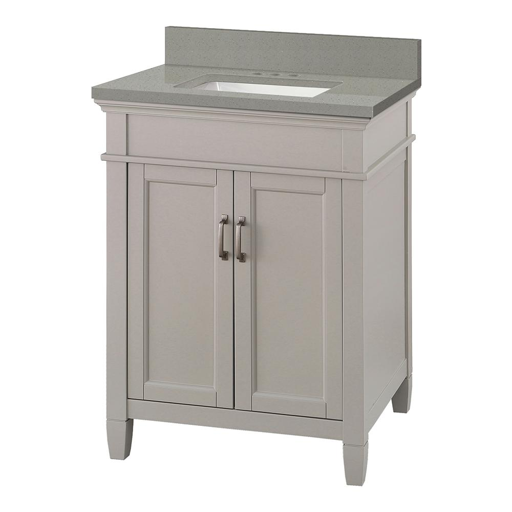 Foremost Ashburn 25 in. W x 22 in. D Vanity Cabinet in Grey with Engineered Quartz Vanity Top in Sterling Grey with White Basin