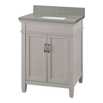 Ashburn 25 in. W x 22 in. D Vanity Cabinet in Grey with Engineered Quartz Vanity Top in Sterling Grey with White Basin