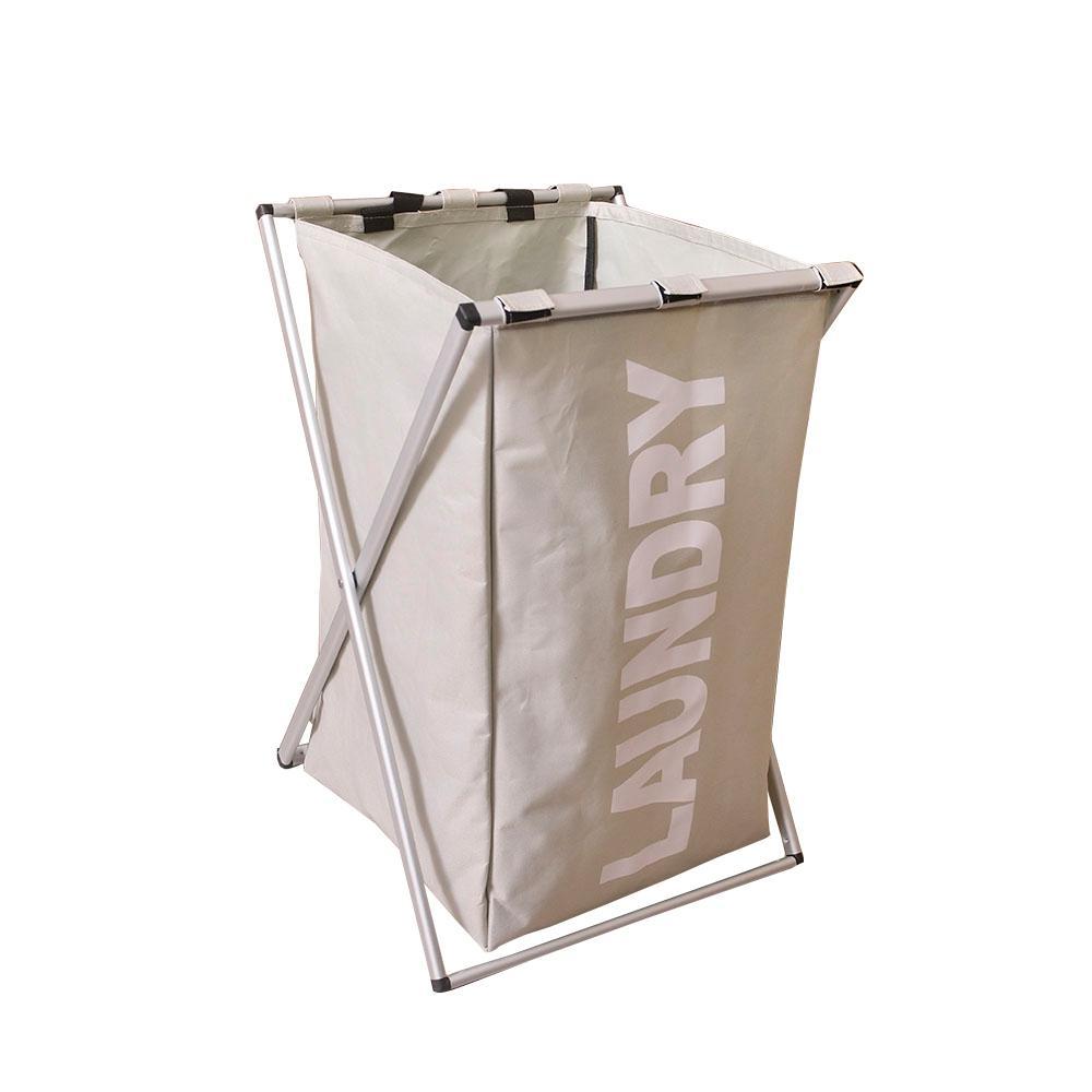 Gray Aluminum Alloy Single Lattice Fabric Storage Laundry Basket