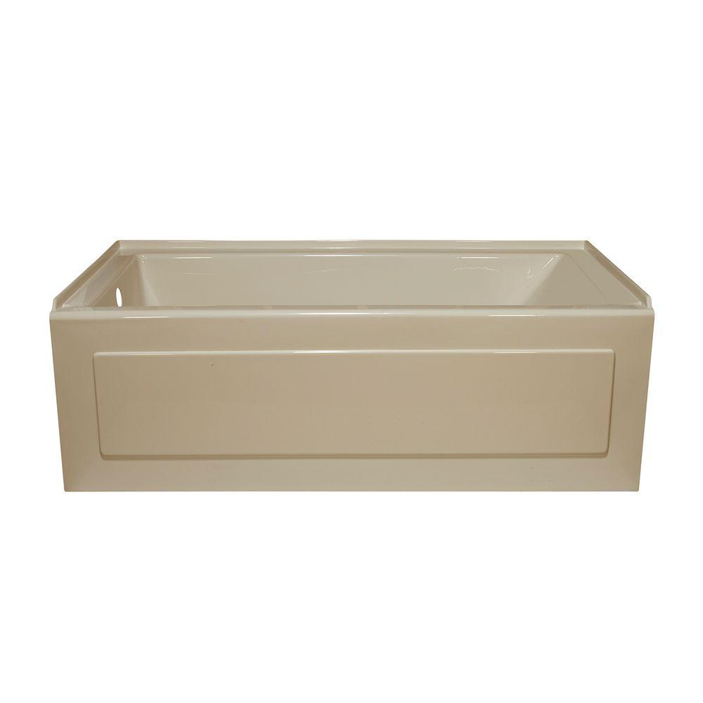 Lyons Industries Linear 5 ft. Left Drain Heated Soaking Tub in Almond