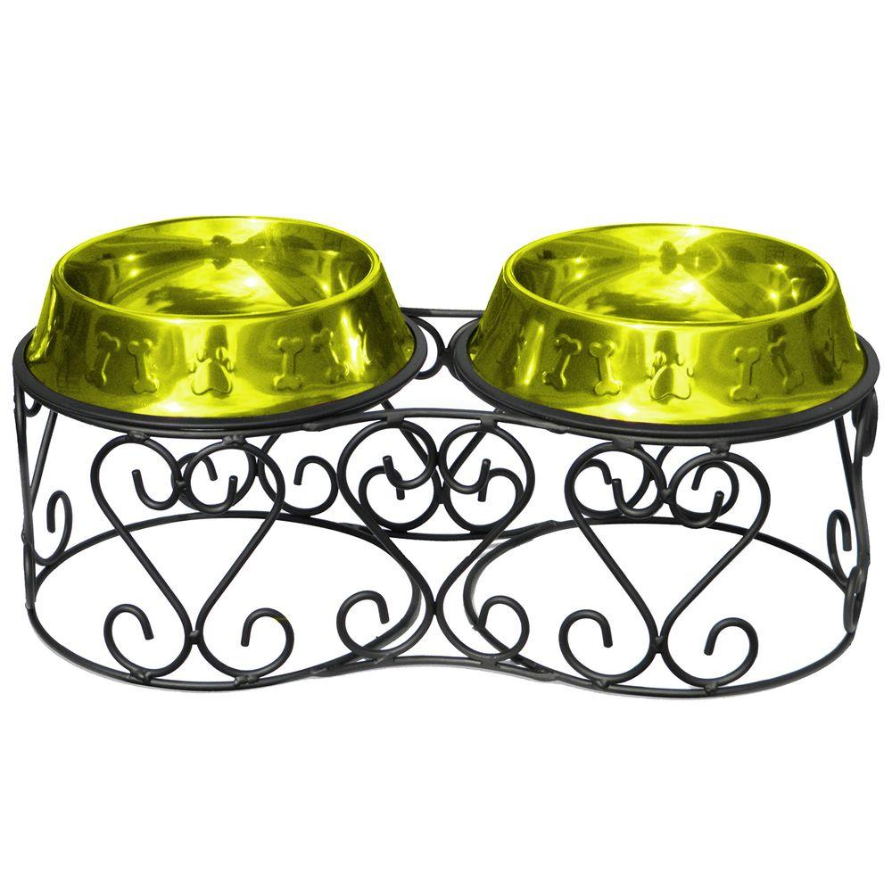 Platinum Pets 4 Cup Wrought Iron Scroll Deluxe Feeder with Embossed Non-Tip Bowl in Lime