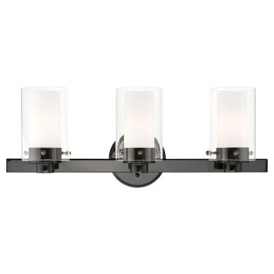 Manhattan 5 in. 3-Light Polished Black Chrome Vanity Light with Clear Outer Glass and Frosted Inner Glass Shades