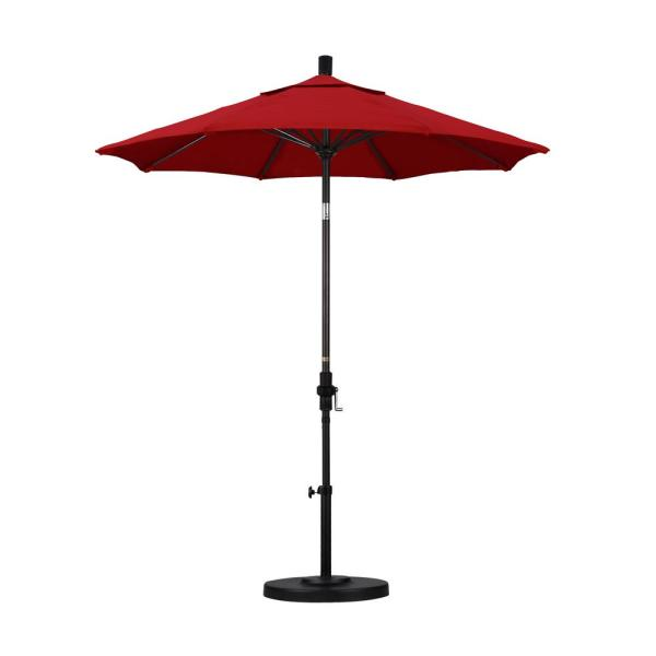 7.5 in. Bronze Aluminum Pole Market Fiberglass Ribs Collar Tilt Crank Lift Outdoor Patio Umbrella in Jockey Red