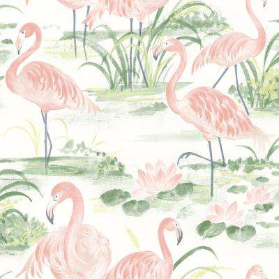 Everglades Coral Flamingos Pink Paper Strippable Roll (Covers 56.4 sq. ft.)