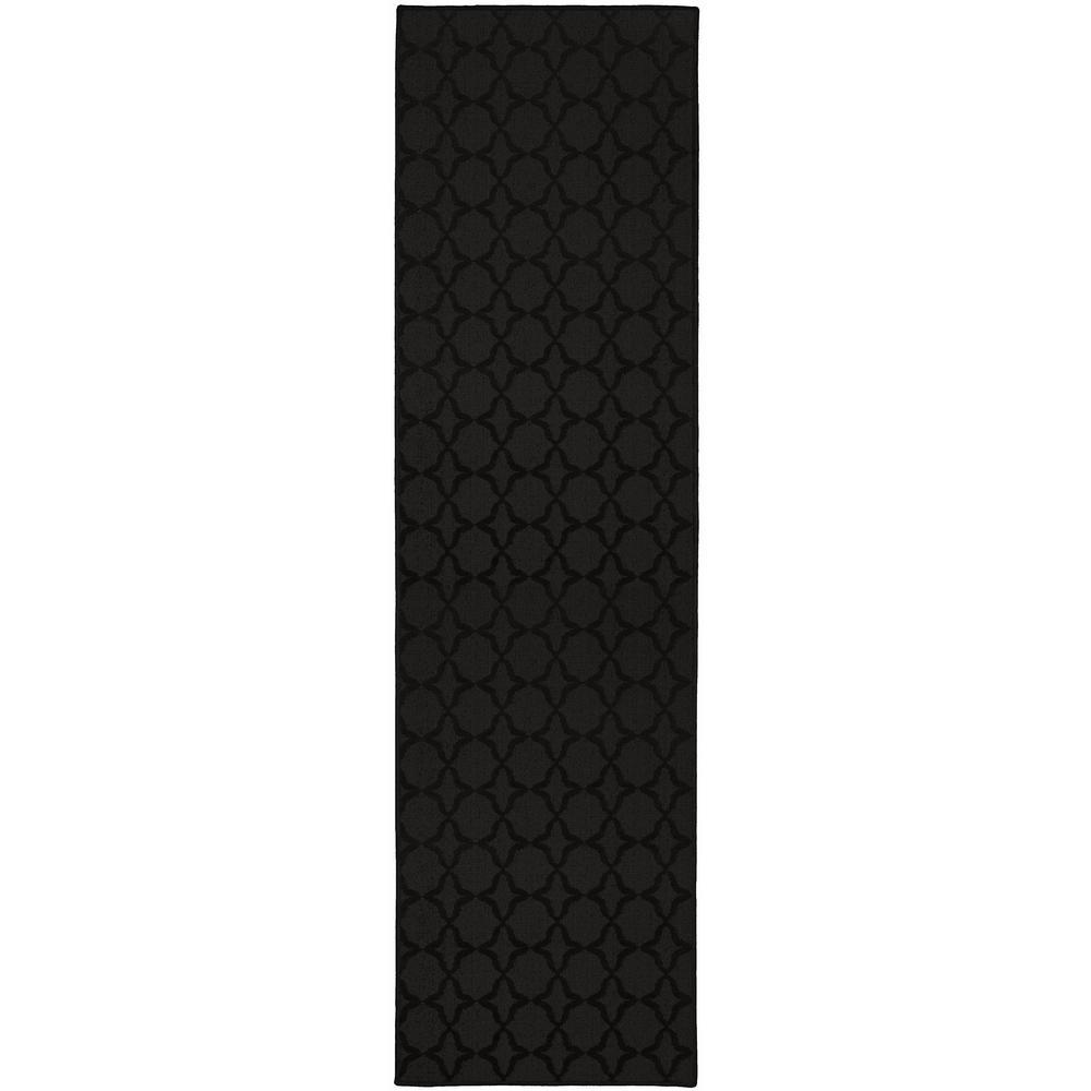 Sparta Black 3 ft. x 12 ft. Runner Rug