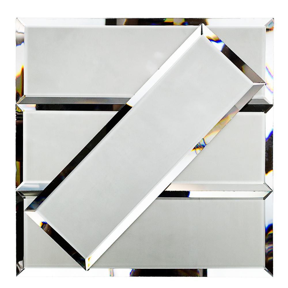 Reflekt Dark Gray Splitface 4 in. x 12 in. Frosted Glass Tile (1 sq. ft.)