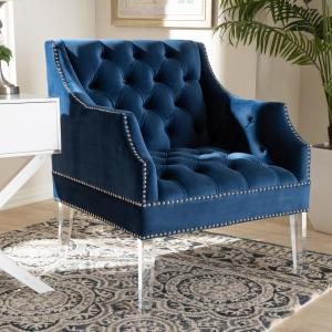 Baxton Studio Silvana Navy Blue and Clear Fabric Accent ...