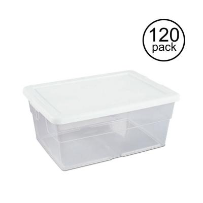 16-Qt. Clear Stacking Closet Storage Box Container Tub (120-Pack)