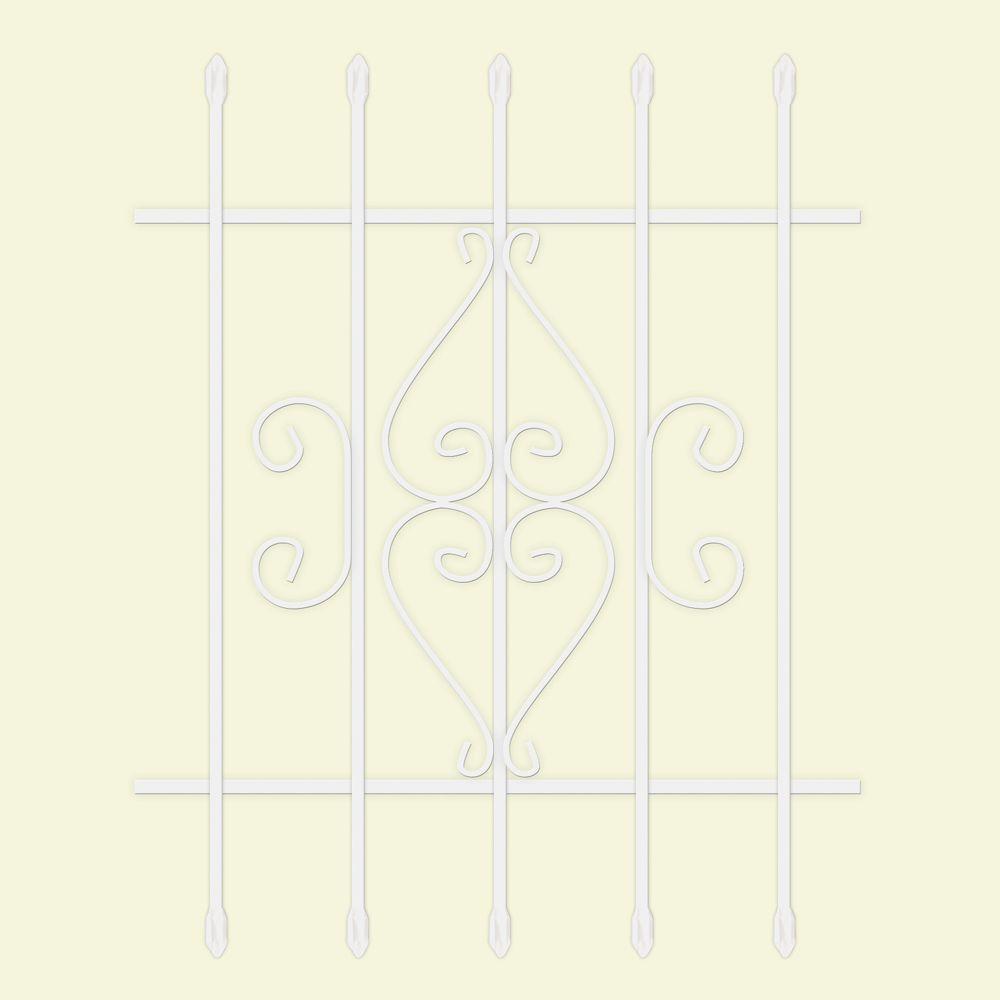30 in. x 36 in. Su Casa White 5-Bar Window Guard