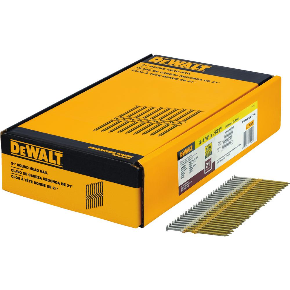 DEWALT 3-1/4 in. x 0.131 in. Galvanized Metal Framing Nails 2000 per Box