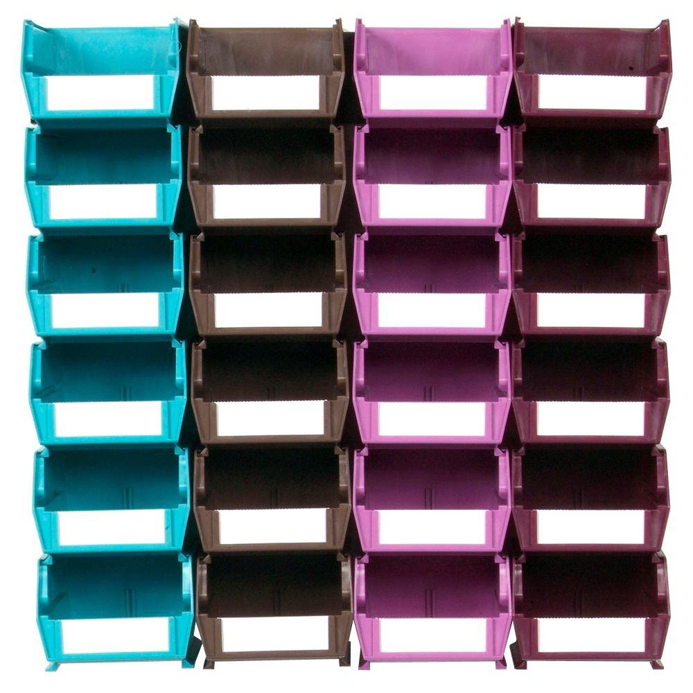 Triton Products LocBin Small Wall Storage Bin (24-Piece) with 2-Wall Mount Rails in Multi Colored