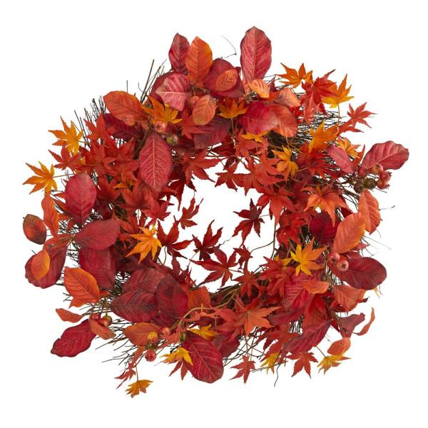 Nearly Natural Indoor 22 in. Japanese Maple, Magnolia Leaf and Berries Artificial Wreath
