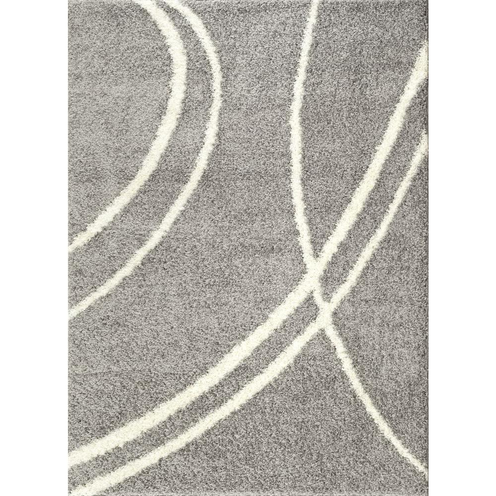 World Rug Gallery Soft Cozy Contemporary Stripe Light Gray White 7 Ft 10 In