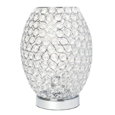11 in. Chrome Elipse Crystal Decorative Curved Accent Uplight Table Lamp
