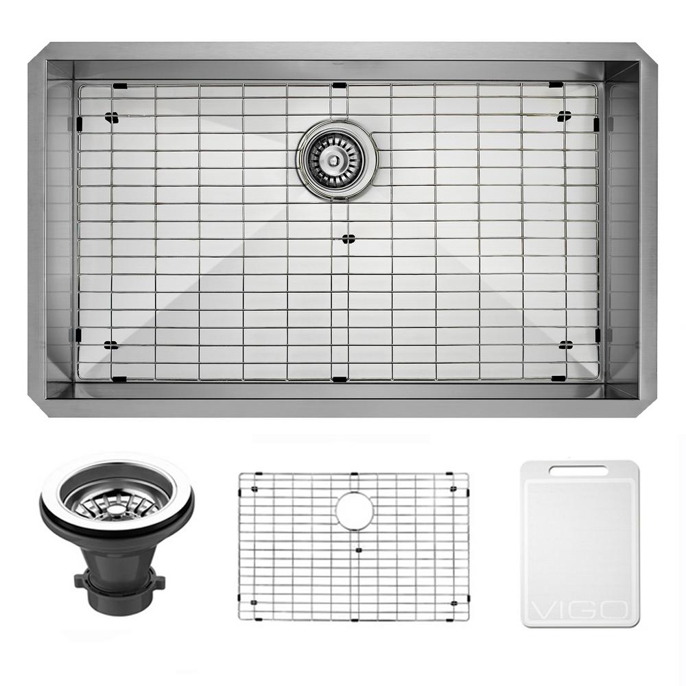 VIGO Undermount 32 in. Single Bowl Kitchen Sink with Grid and Strainer in Stainless Steel