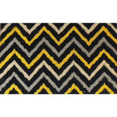 A1HC First Impression Yellow and Black Chevron 18 in. x 30 in. Coir Door Mat