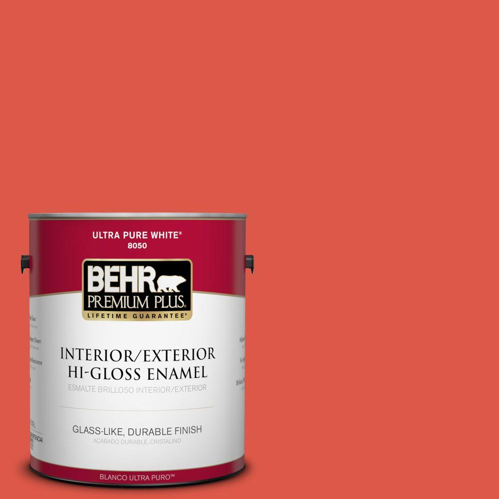 BEHR Premium Plus 1-gal. #180B-6 Fiery Red Hi-Gloss Enamel Interior/Exterior Paint