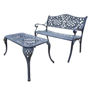 Mississippi Cast Aluminum Settee Bench and 35 inch x 18 inch Cocktail Table Set by