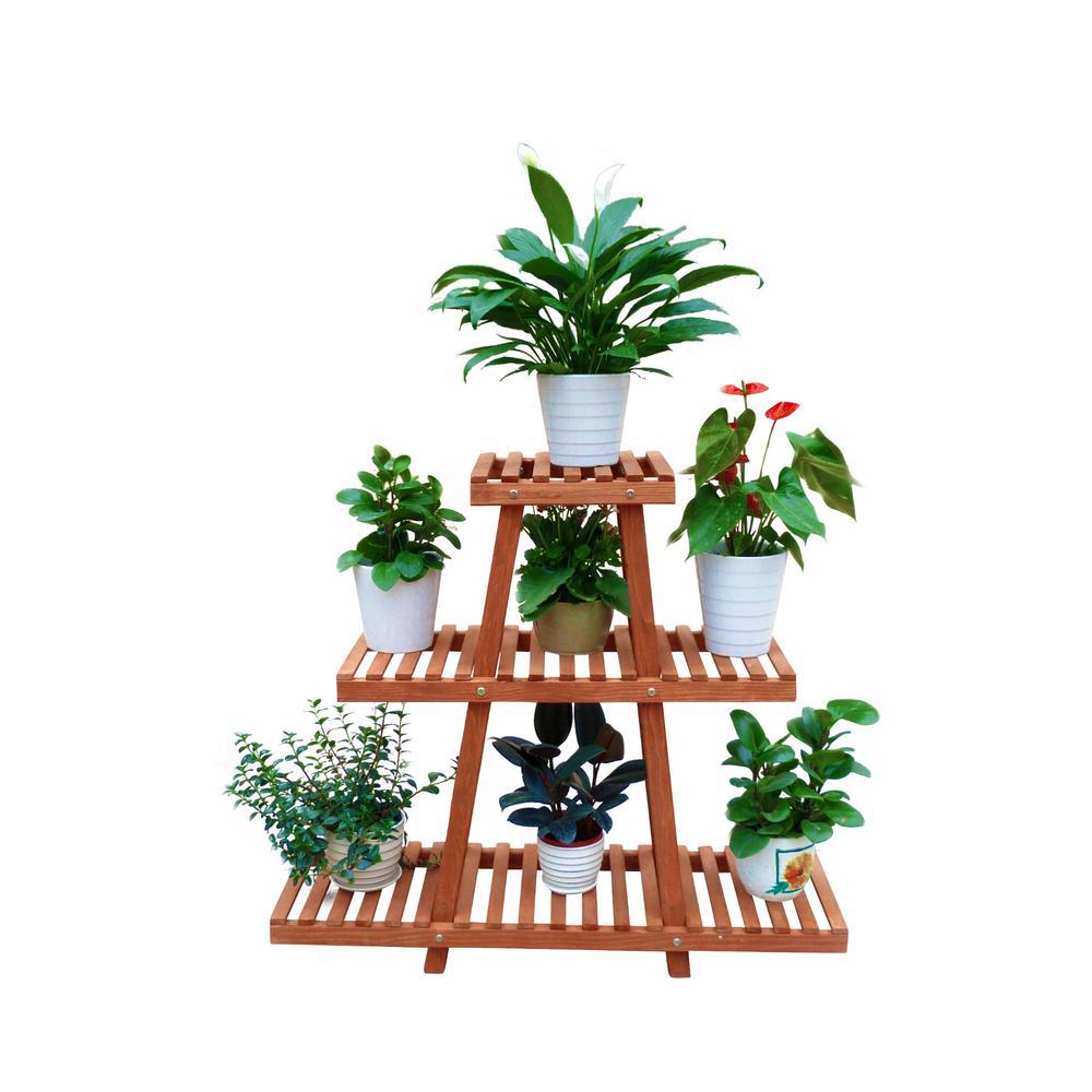 35 in. W x 11 in. D x 32 in. H Brown Wooden 3-Tier Indoor Outdoor Plant Stand