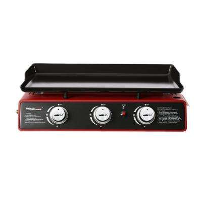 3-Burner Propane Griddle, Portable Table Top 24-Inch Gas Grill in Red