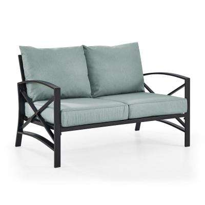 Kaplan Metal Outdoor Loveseat with Universal Mist Cushion Cover