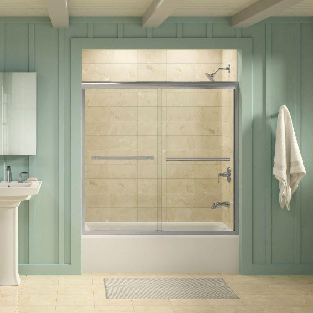 Gradient 59-5/8 in. x 58-1/16 in. Semi-Frameless Sliding Tub Door in