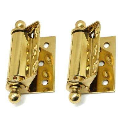 1-1/2 in. x 2-3/4 in. Solid Brass Adjustable Half Surface Screen Door Hinge with Ball Finials in Polished Brass (1-Pair)