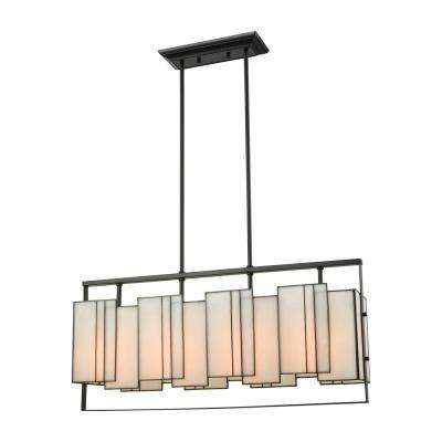Stratus 4-Light Oil Rubbed Bronze Chandelier with Bone Tiffany Glass Shade