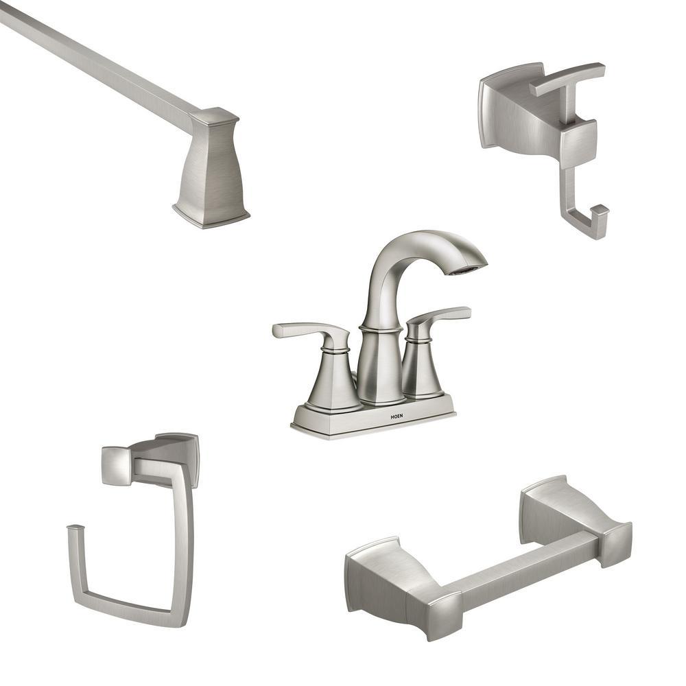 MOEN Hensley 4 in. Centerset 2-Handle Bathroom Faucet in Spot Resist Nickel with 4-Piece Bath Hardware Set