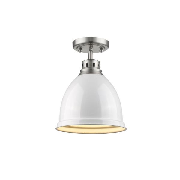Duncan 1-Light Pewter Flush Mount with White Shade