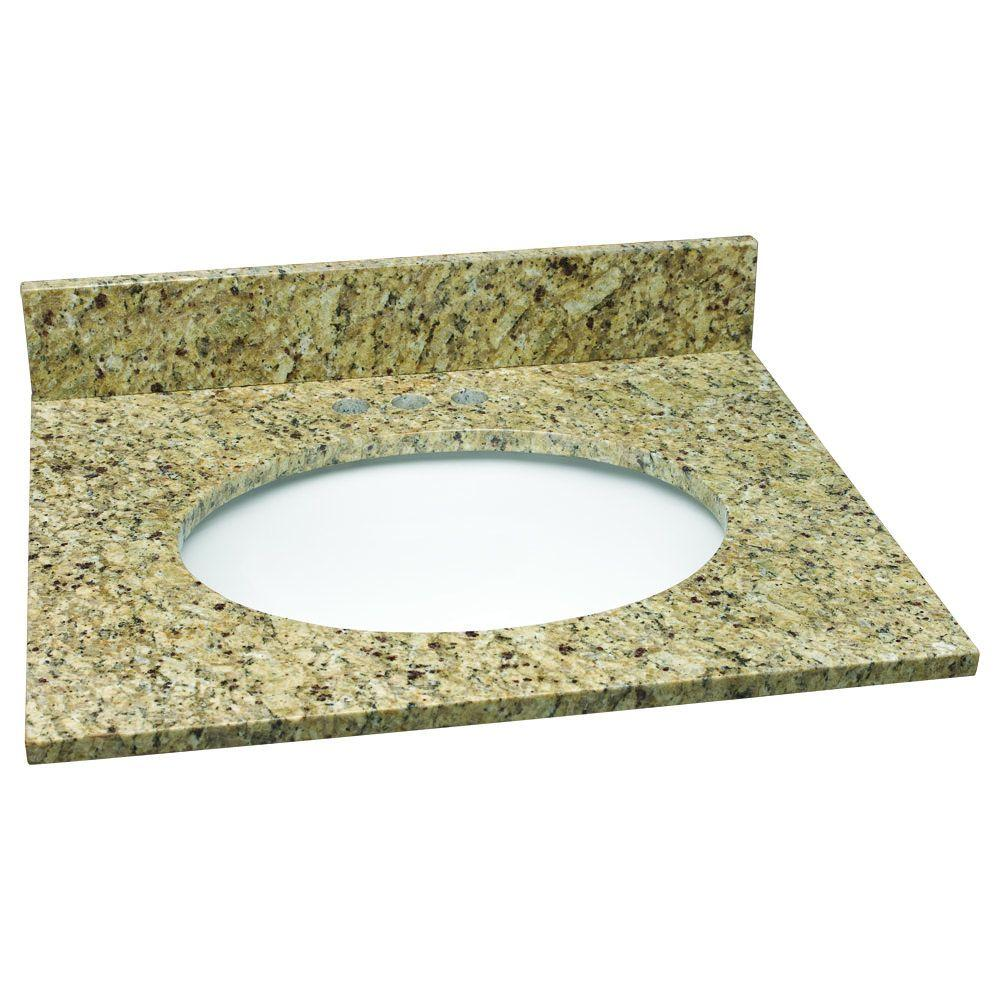 25 in. W Granite Vanity Top in Venetian Gold with White