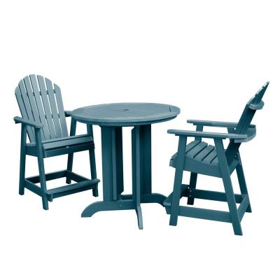 Hamilton Nantucket Blue 3-Piece Recycled Plastic Round Outdoor Balcony Height Dining Set