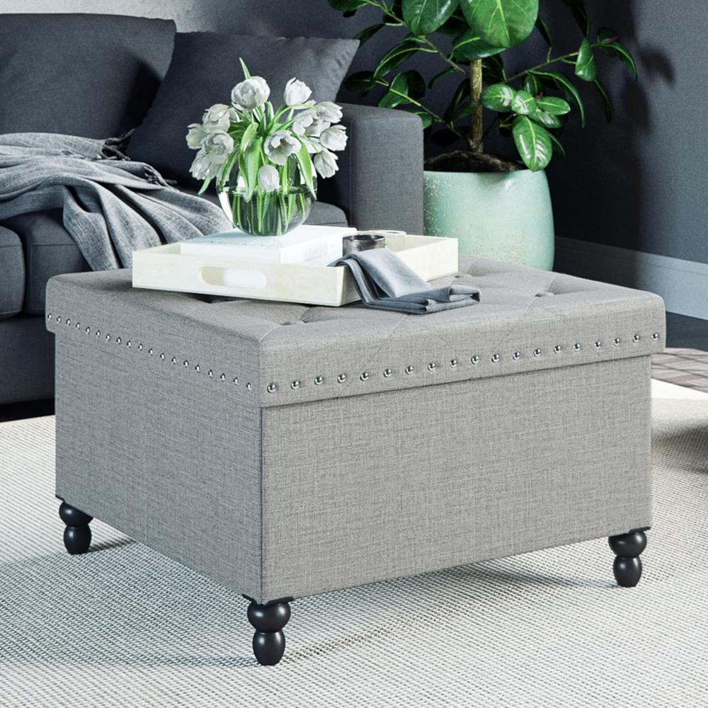 Nathan James Payton Smokey Gray Faux Leather Foldable Storage Square Ottoman
