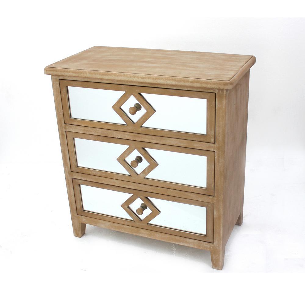 Brown Wood Mirror 3-Drawer Storage Cabinet AF-040