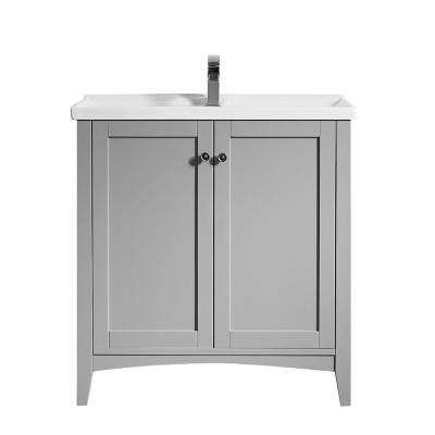 Asti 30 in. W x 18 in. D x 33 in. H Single Basin Vanity in Grey with White Basin and Ceramic Vanity Top in White