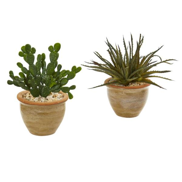 Nearly Natural Indoor Aloe and Cactus Succulent Artificial Plant (Set of 2)